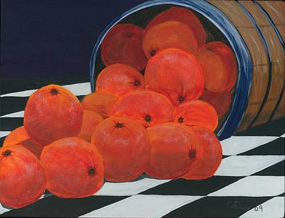 Basket Of Oranges Art Print by Gail Finn