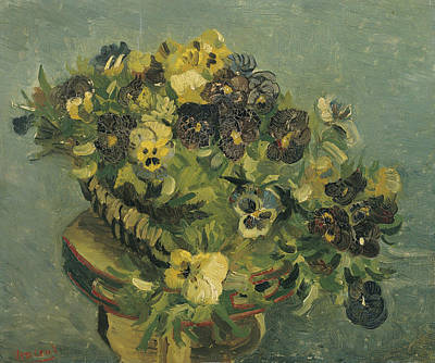 Basket Of Pansies On A Small Table Art Print by Vincent van Gogh