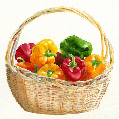 Pepper Painting - Basket Of Peppers Square Design by Sharon Freeman