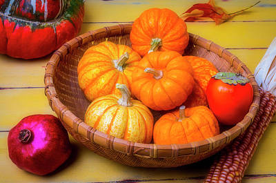 Photograph - Basket Of Pumpkins Full Autumn by Garry Gay