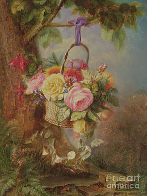 Hanging Basket Painting - Basket Of Roses With Fuschia, 19th Century by Edward Charles Williams