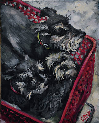 Painting - Basket Of Schnauzers by Carole Foret