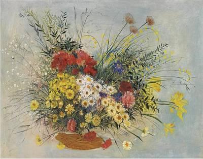 Greek Vase Painting - Basket Of Summer Flowers by MotionAge Designs