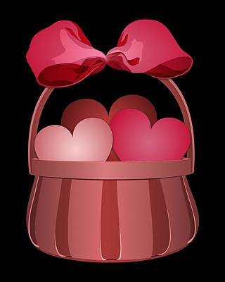 Digital Art - Basket Of Valentines by MM Anderson