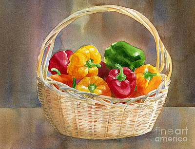 Pepper Painting - Basket Of Yellow Green And Red Peppers by Sharon Freeman