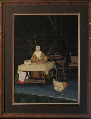 Painting - Basket Weaver With Chicken by Dana Schmidt