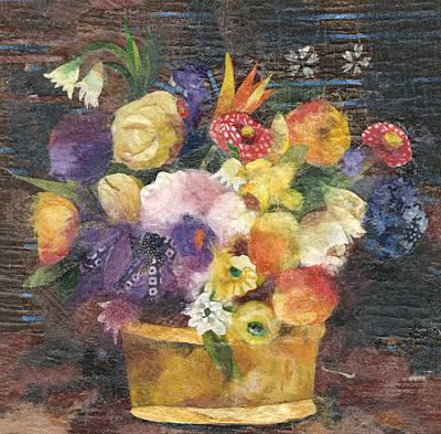 Basket With Flowers Print by Nira Schwartz