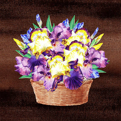Painting - Basket With Iris Flowers by Irina Sztukowski