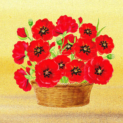 Painting - Basket With Red Poppies by Irina Sztukowski