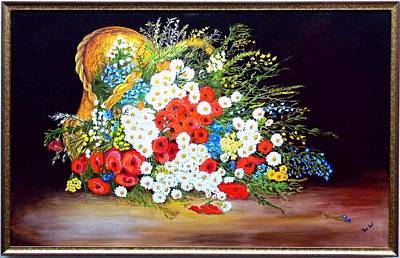 Basket With Summer Flowers Art Print by Helmut Rottler
