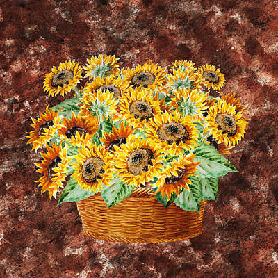Painting - Basket With Sunflowers by Irina Sztukowski