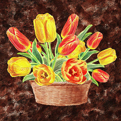 Painting - Basket With Tulips by Irina Sztukowski
