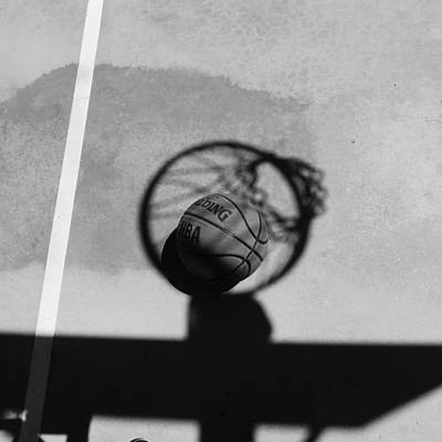 Photograph - Basketball And Hoop Shadow by Bill Tomsa