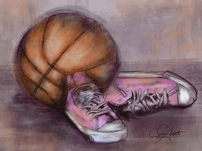 Basketball And Pink Shoes Art Print
