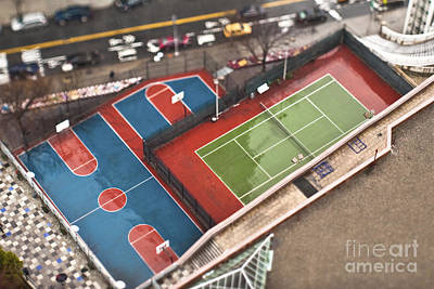 Basketball And Tennis Courts Print by Eddy Joaquim