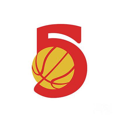 Basketball Ball Five Retro Art Print by Aloysius Patrimonio