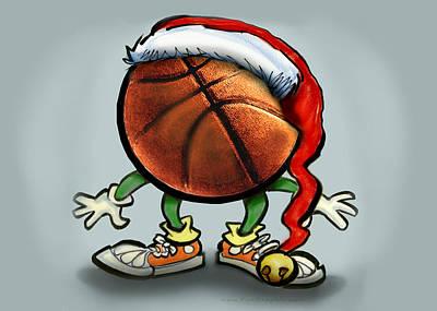 Basketball Christmas Art Print by Kevin Middleton