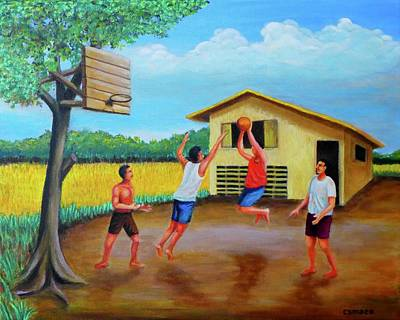 Sports Paintings - Basketball by Cyril Maza