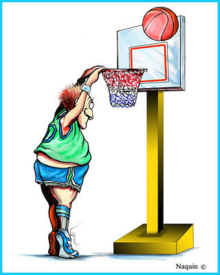 Dunk Drawing - Basketball Dunk by Keith Naquin