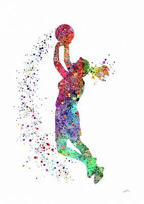 Basketball Girl Player Sports Art Print Art Print by Svetla Tancheva