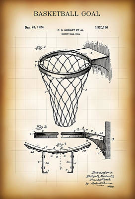 Basketball Goal Patent 1924 Art Print by Daniel Hagerman