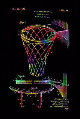 Drawing - Basketball Goal Vintage Patent 1924 by Eti Reid