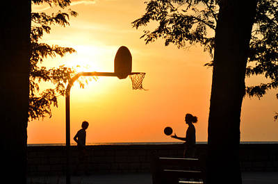 Photograph - Basketball In Sunset by Diane Lent