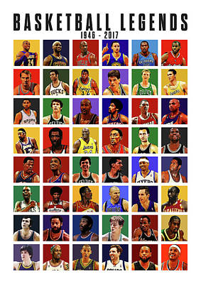 John Stockton Digital Art - Basketball Legends by Semih Yurdabak