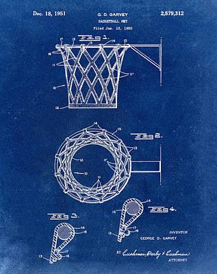 Basketball Net Patent 1951 In Blue Art Print