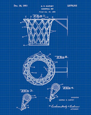 Hoops Drawing - Basketball Net Patent 1951 In Blue Print by Bill Cannon