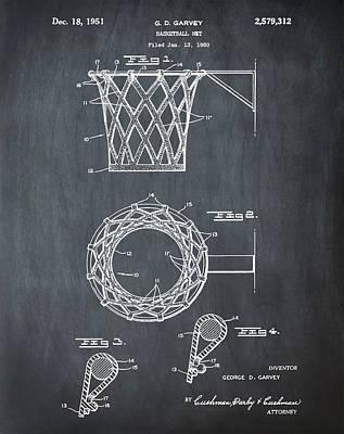 Basketball Net Patent 1951 In Chalk Art Print