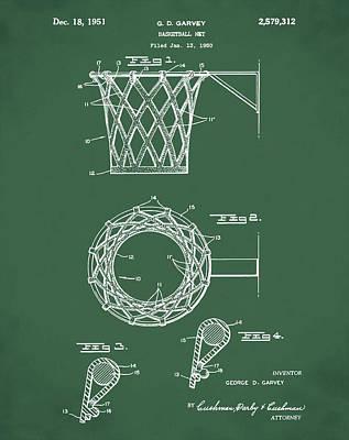 Basketball Net Patent 1951 In Green Art Print