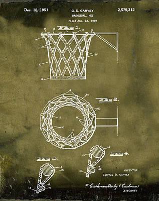 Basketball Net Patent 1951 In Grunge Art Print