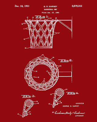 Basketball Net Patent 1951 In Red Art Print