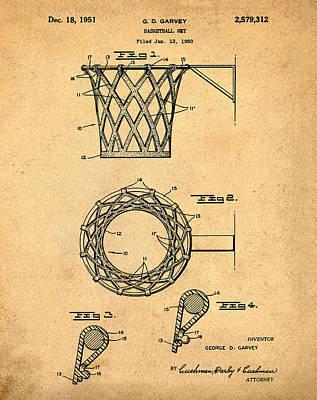 Basketball Net Patent 1951 In Sepia Art Print