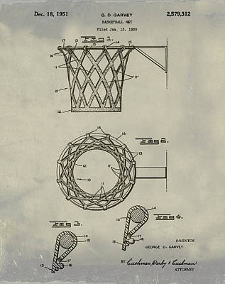 Basketball Net Patent 1951 In Weathered Art Print