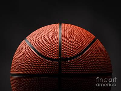 Basketball On Dark Background Art Print by Andreas Berheide
