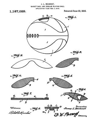 1916 Digital Art - Basketball Patent 1916 by Bill Cannon