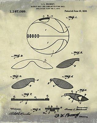 1916 Digital Art - Basketball Patent 1916 Faded Grunge by Bill Cannon