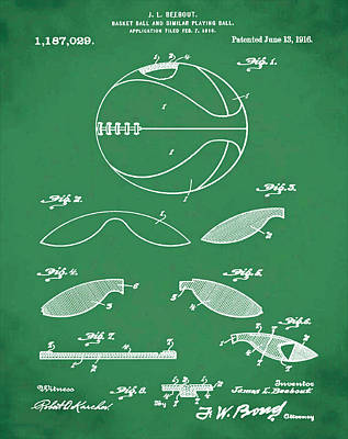 Basketball Patent 1916 Green Print by Bill Cannon