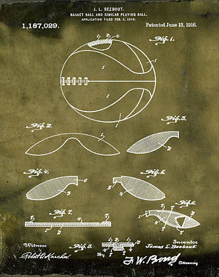 1916 Digital Art - Basketball Patent 1916 Grunge by Bill Cannon