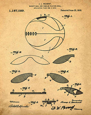 1916 Digital Art - Basketball Patent 1916 Sepia by Bill Cannon