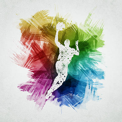 Athletes Royalty-Free and Rights-Managed Images - Basketball Player Art 05 by Aged Pixel