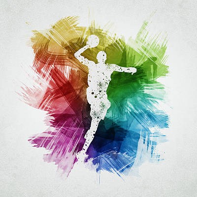 Athletes Royalty-Free and Rights-Managed Images - Basketball Player Art 09 by Aged Pixel