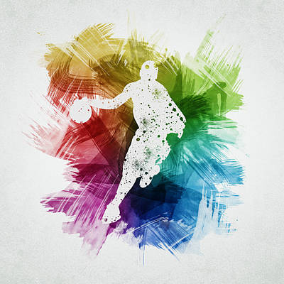 Athletes Royalty-Free and Rights-Managed Images - Basketball Player Art 14 by Aged Pixel