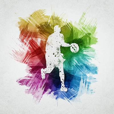 Athletes Digital Art - Basketball Player Art 16 by Aged Pixel