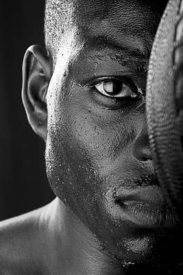 Sports Photograph - Basketball Player Close Up Portrait by Val Black Russian Tourchin