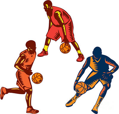 Basketball Player Dribble Woodcut Collection Art Print