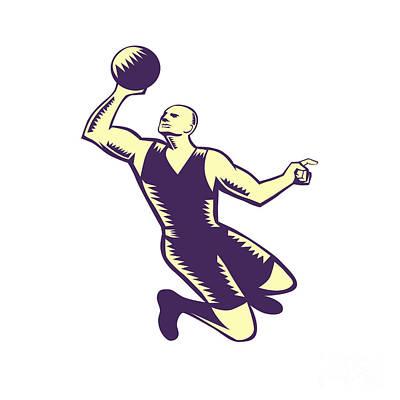 Basketball Player Dunk Ball Woodcut Art Print