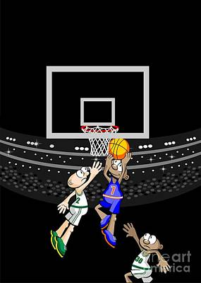 Basketball Player Eludes Defenses And Jumps To Score Art Print